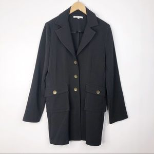 CAbi #190 Black Military Style Long Button Coat